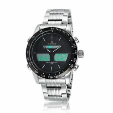 Men's Quartz LED Digital Stainless Steel Stopwatch Alarm Waterproof Wrist Watch