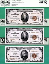THREE CONSECUTIVE 1929 $20 FRBN's - ALL PCGS CU 64 with PPQ - Fr 1870-G CHICAGO