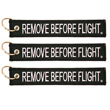 3 Pack Remove Before Flight Key Chain Black aviation truck motorcycle pilot
