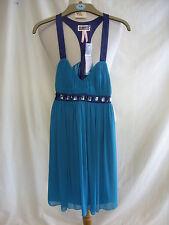 Ladies Dress - Lipsy, size 8, BNWT £65, jade green/navy, sexy back, jewels 2199