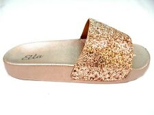 LADIES WOMENS  ELLA MULE SANDALS OPEN TOE SPARKLY GLITTER NEW SLIDERS SIZE 3 - 8