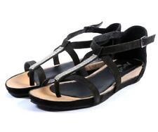 Womens Leather Fashion Sandals-BLACK