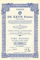 Usines de Keyn Freres SA, accion, 1948 (Siege: Bruxelles)