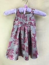 Monsoon Girls Age 6-12 Months Party Silk Dress Taupe with Pink Floral Print