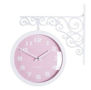 Antique Art Design Double Sided Wall Clock Station Clock Home Decor - Pastel(PI)