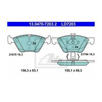 ATE LD7203 Bremsbelagsatz, Scheibenbremse ATE Ceramic  13.0470-7203.2  Vorne