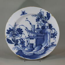 Antique English Delft blue and white charger, circa 1750