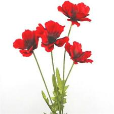 48cm Artificial Flame Red Poppy Flower Stem - Decorative Silk Flowers