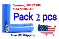 2x Samsung INR21700-50E 9.8A 5000mAh Rechargeable High Drain 3.7V 21700 Battery
