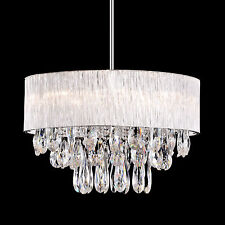 """8 Lamp Round Drum Ribbed Shade Pendant Lighting Crystal Chandelier Dia 20"""""""
