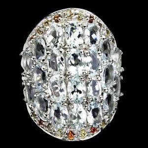 Unheated Oval Aquamarine 6x4mm Sapphire Diamond Cut 925 Sterling Silver Ring 9