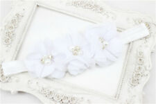 1Pcs Baby Girl Kid Chiffon Pearl Rhinestone Flower Headwear Headbands Hair Bows