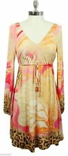 ROBERTO CAVALLI Tunic Dress Blouse Top Shirt Long Sleeve Printed Rayon Sz S