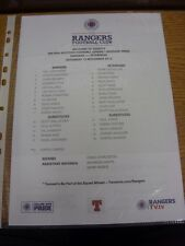 10/11/2012 COLORI teamsheet: Rangers V Peterhead (piegato). grazie per la visualizzazione o