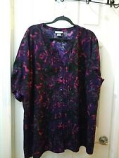 Maggie Barnes for CATHERINES Purple pink Floral shirt Top 3x plus blouse 24/26W