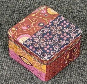 Vintage Fossil Watch tin box in pink, orange, purple, retro design 7/02