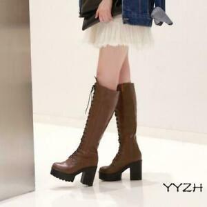 Women Lace Up Knee High Combat Boots Mid Chunky Heel Platform Knight Shoes