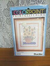 "1992 Bucilla Colorpoint Paintstitching ""Sunflower in Crock"" #63658 Sampler"
