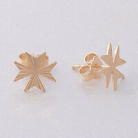 MALTESE CROSS Amalfi Hallmarked 9ct 9k Gold Stud Earrings Of St John from Malta