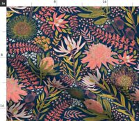 Proteam Pink Floral Pattern Protea Flowers Fabric Printed by Spoonflower BTY