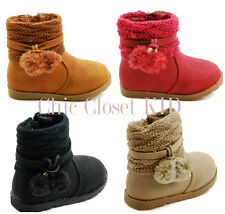 BABY Infant Toddler Pom Pom Warm Faux Suede Ankle High Snow Winter Boots Booties