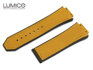 For HUBLOT Watch BROWN Rubber Suede Leather Strap Band BIG BANG FUSION