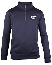 Caterpillar CAT 1910004 Canyon Men Sweatshirt 1/4 Zip Polycotton Fleece Workwear Navy 2xl