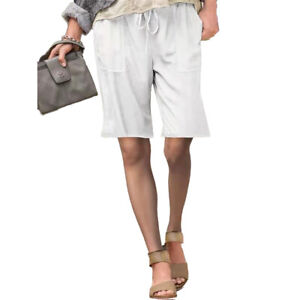 Women's Cargo Casual Loose Fit Pockets SOLID Shorts Summer Pants Beach Plus Size