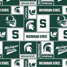 Package of Short Pieces Michigan State MSU 012 Fleece Fabric Print D007.02