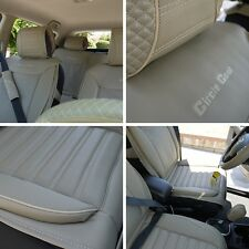 Beige Seat Belt Cover Steering Wheel Shift Knob Front & Back Car Seat Cover Set