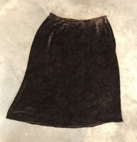 Lauren Ralph Lauren Brown Silk Blend Mid Calf Midi Paisley Skirt 16W / 16 W