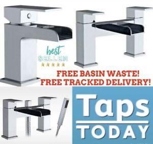 Square Waterfall Bathroom Tap Set, Basin Mixers, Bath Filler, Shower Mixers Tap