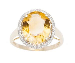 10k Yellow Gold Oval 5.20ct Citrine and Diamond Halo Ring (G-H, I1-I2)