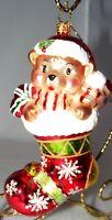 Christopher Radko Teddy Bear in Christmas Stocking Glass Ornament MIB + BOX