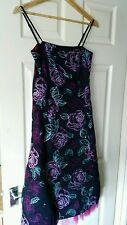 Womens Black, Pink, Blue Green Emboidered Debut Dress. Size 10.