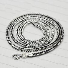 "Genuine Solid 925 Sterling Thai Silver Snake Bones Chain Men's Necklace18""-24"""
