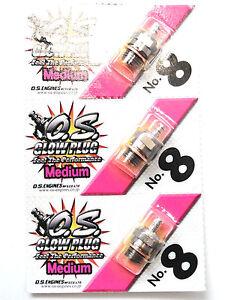 OS No.8 #8 Medium Nitro Glow Plug - 3 Pack 71608001