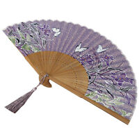 Folding Hand Held Wedding Dancing Party Prom Lily Chinese Style Silk Fan Q4 N6I6