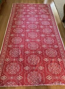 Vintage Boho Red Bandana Print Style Fabric Material Table Cloth Pillows, Crafts