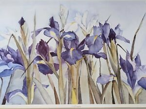 LYN SNOW Botanical Watercolor Iris Signed Frame LTD ED Lithograph 22x27 Picture