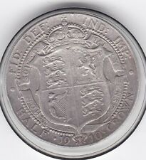 1910  King  Edward  VII  Half  Crown   (2/6d)   Sterling  Silver   Coin