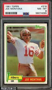 1981 Topps Football #216 Joe Montana 49ers RC Rookie HOF PSA 8 NM-MT