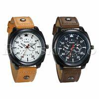 Men's Luxury Sports PU Leather Band Round Quartz Dial Analog Wrist Watch