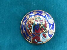 Stunning Celtic brooch huge circular with pretty enamel design in blues/golds
