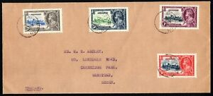 Ascension Is 1935 Silver Jubilee set on cover SG31/34 with sg33 re-entry var