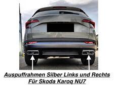 Top Silber Trapezblenden Blenden Auspuffrahmen Links+Rechts Für Skoda Karoq NU7