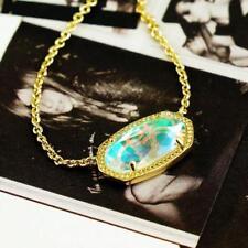 NWT Kendra Scott Elisa Iridescent Necklace Dichroic Glass Gold Tone Color Bar