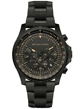 Michael Kors Men's Cortlandt Black Stainless Chronograph Watch MK8755 NWT $250