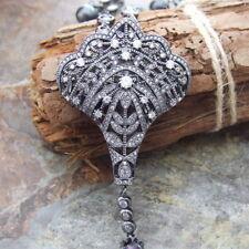 "27"" Black Keshi Pearl Chain Necklace CZ Pearl Pendant"