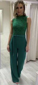 Ollie And Mac Boutique Green Lace Jumpsuit New Size 10